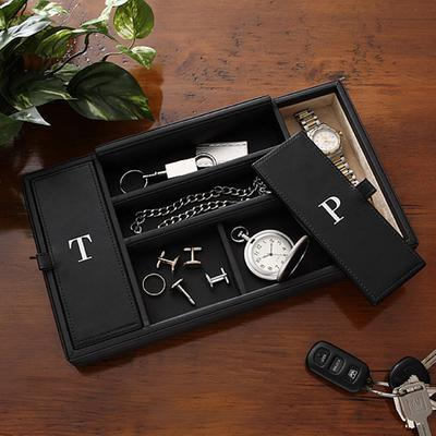 Black Mens Wooden Valet Box