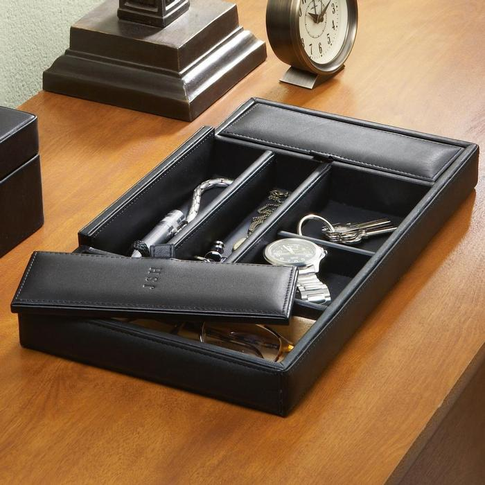 Personalized Mens Leather Valet Box